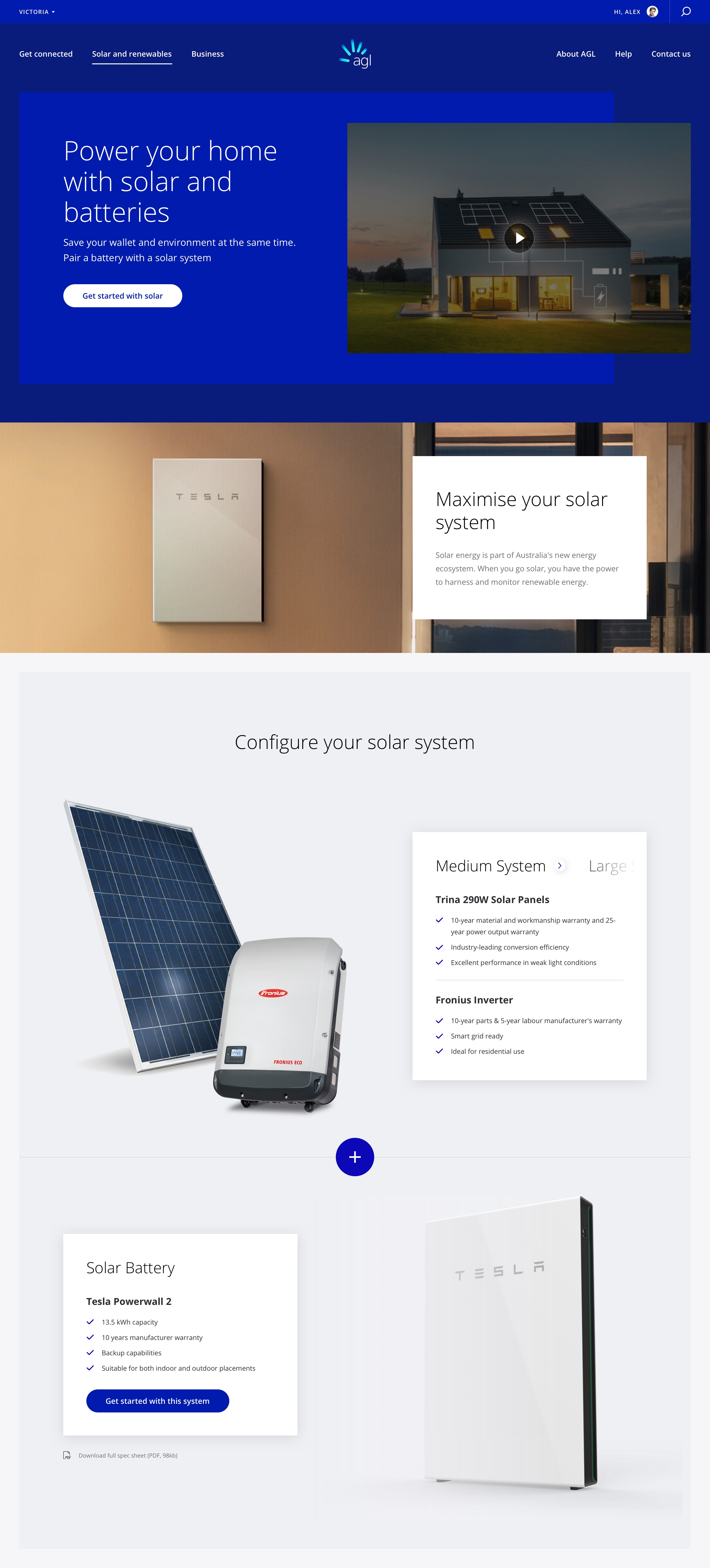 Landing page – Solar + Battery